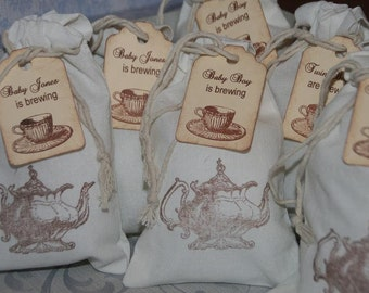 Baby Shower Tea Party Favor Bags 15, Personalized Tea Party Favor Tags, Muslin Favor Bags, A Baby is Brewing