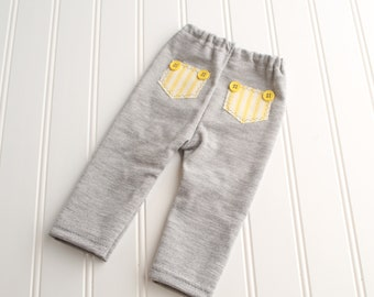 A Pocket Full of Sunshine - newborn pants in a heather grey and charcoal with yellow and cream pinstripe pockets and buttons (RTS)