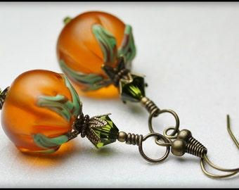 Cinderella... Handmade Jewelry Earrings Beaded Lampwork Crystal Dangle Pumpkin Halloween Orange Lime Olive Green Antique Brass Autumn Fall