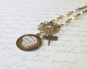 Dragonfly Glass Pendant Necklace, Vintage Style Necklace