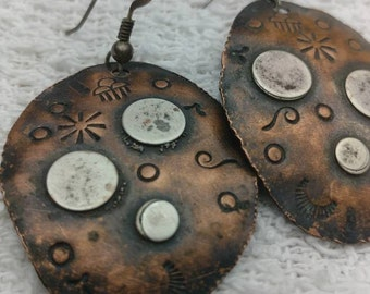 Stamped copper earings Jewelrybyjohndesign