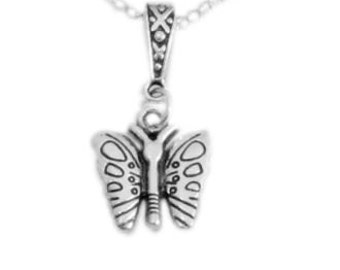 Butterfly necklace,Silver Butterfly necklace,small Butterfly pendant,Butterfly charm necklace,tiny charm necklace uk
