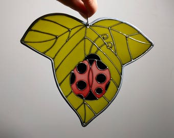 Ladybug stained glass - Unique piece