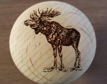 Rustic Decor Laser Engraved Moose Wooden Knob
