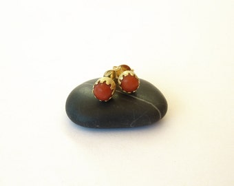 Red Coral Earrings Gold Post Earrings, 18K Gold Earrings - Coral Jewelry Gold Stud Earrings