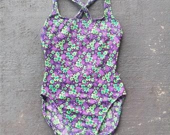 Vintage 90s neon floral swimsuit