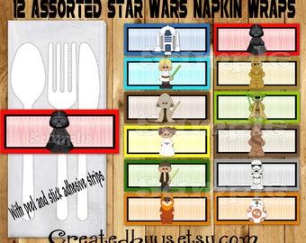 Space wars Napkin wraps Star Jedi Birthday Decorations baby shower napkin band Paper napkin ring holder utensil wrapper 12 peel and stick