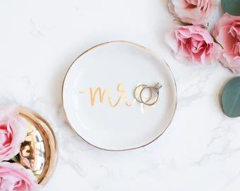Mrs Ring Dish | Gold Engagement Gift Bride Gift Anniversary Gift Wedding Gift Jewelry Dish Trinket Dish Ring Holder Jewelry Holder Wedding