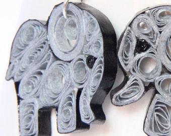 Elephant Earrings Eco Friendly Grey Handmade by Paper Quilling OOAK Artisan Jewelry Niobium hypoallergenic