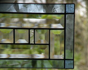 stained glass window panel beveled and blue