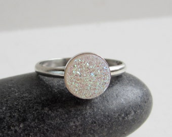 Iridescent White Druzy Sterling Silver Ring