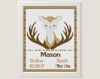 Deer Cross stitch birth announcement sampler baby boy customizable Cross stitch pattern boho