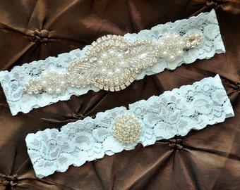 Rhinestone Wedding Garter, Crystal Bridal Garter Set - Blue Lace Garter, Keepsake Garter, Crystal Wedding Garter, Something Blue