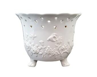 Asian Blanc de Chine Planter Flower Pot Hummingbirds & Butterflies Mid-Century Hollywood Regency