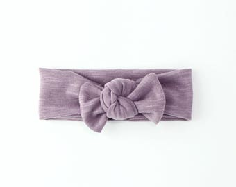 Baby Girl Headwrap, Baby Knot Headband, Knotted Headband, Toddler Headwrap, Top Knot Headband, Baby Top Knot, Turban . DRIED LILAC Headwrap