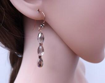 Copper earrings, fire polished Czech glass earrings, copper drop earrings