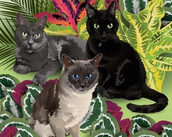 "Custom Cat TRIO Portrait - Full body - 10""x10"" Print"