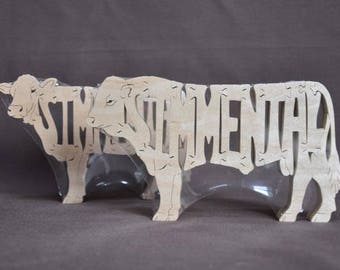 Simmental Cow or Bull Cattle Puzzle Wooden Toy Hand Cut