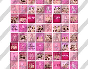 Digital Collage Sheet Scrabble Size 0.75 X 0.83  Breast Cancer Awareness  (Sheet no.FS143) Instant Download