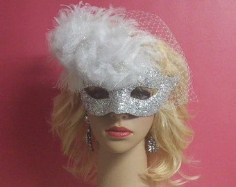 Silver White Bridal Mask,Russian Net Blusher Masquerade Mask,Ballroom Mask,Theatre Mask,White Flower Mask