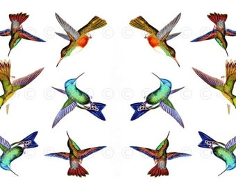 Hummingbird Water-Slide Decals, Hummingbird Wedding and Party Decals, Decorate Flame-less Candles, Soap, Glass, Home Decor, Furniture-DS109