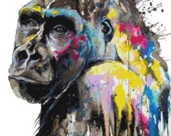 NEW - Gorilla Cross Stitch KIT, Counted Cross Stitch, Pixie Cold Art, 'I See The Future', Modern Stitching Set, Ape Stitching
