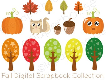 Fall Digital Scrapbook Collection,FREE commercial use, Instant Download Clip Art illustrations, Autumn clipart