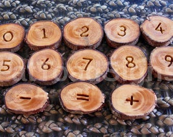 Reclaimed Timber Number Slices For Maths Play, Counting Resources, Early Education Resources, Kindergarten, Classroom, Wood Rounds,