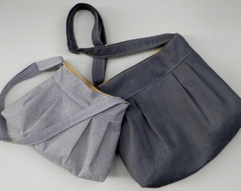 Grey Yellow Diaper Bag SET -  Large and Medium Bags