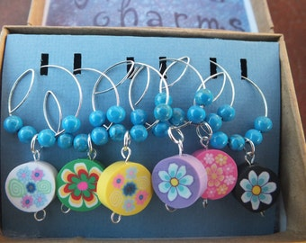 Flower Power Wineglass Charms, wineglass, stemware, wine - Relive the 60's and 70's, feeling groovy
