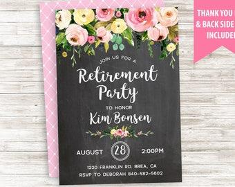 Retirement Party Invitation Invite Watercolor Floral Flowers Chalkboard Digital Personalize 5x7