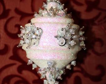 Vintage Handmade Ornament,Vintage Christmas Ornament,White Christmas Ornament, Beaded Ornament,Christmas Decor