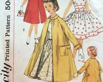 1950's Simplicity 1934 Girls Pretty One-Piece Dress And A-Line Coat Pattern, Size 12, UNCUT
