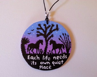 Hand Painted Wooden Ornament, Desert Silhouette