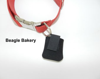 Dog tag silencer, Dog tag pouch, Dog tag holder, Dog ID tag silencer, Dog ID tag pouch,  Dog accessories, Dog tag cover, Pet, Black