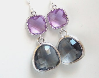 Gray Earrings, Lavender Earrings, Glass Earrings, Lilac, Violet, Purple, Grey, Silver, Bridesmaid Earrings, Bridal Jewelry, Bridesmaid Gift