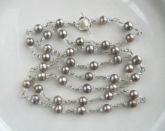 Long Silver and Silver Gray Freshwater Pearl Chain Necklace Silver Gray Pearl Necklace (38.5 Inches)