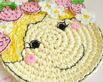 Crochet Strawberry Coaster - Strawberry Doll Coaster - Strawberry Mug Rug - Cottage Decor - Gift for Mom - Gift for Her - Gift under 20
