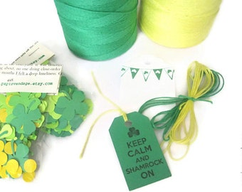 St. Patrick's Day Tags & Twine, Shamrock Gift Tags, St. Patrick's Day Decor, Unique St. Patrick's Days Handmade Tags