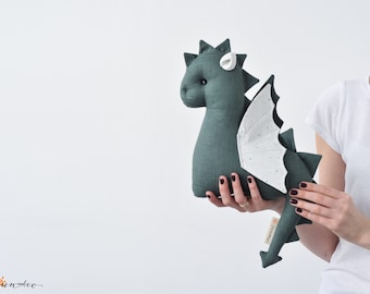 Baby Dragon Stuffed Toy - Dragon Plush - Stuffed Animal - Dragon Nursery Decor - Green Soft Toy - Dragon Baby Shower Gift - Dragon age