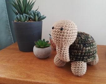 Turtle- Crochet Amigurumi Stuffed Animal Plush- camoflauge / tan