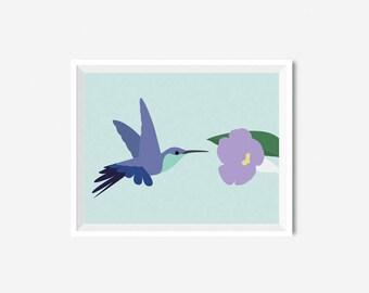 Printable Hummingbird Nursery Poster Baby room Print Nursery Animal Girl Boy Wall art Mint
