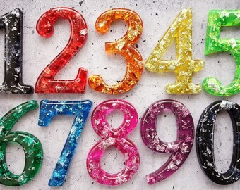 Any Resin Number in your Colour Choice with Silver Leaf Detail for Home Decor, House Number, Street Number, Mailbox, Letterbox Number