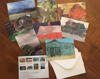 Barn Collage Notecards: Collage Painting of New England Barns