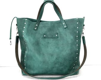 FREE SHIPPING ••• Large green hand stitched leather weekender bag, tote bag