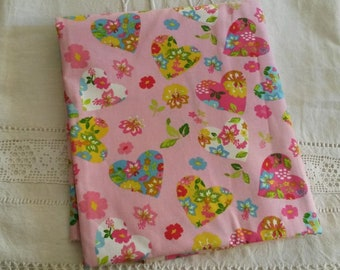 Printed fabric / floral and sweet hearts
