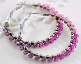 Crystal Hoop Earrings, Fuchsia Pink Amethyst Purple, Genuine Swarovski Beads, Colorful Ombre, Wire Wrapped, Silver Plated Jewelry