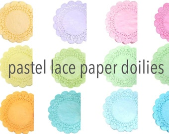 Pastel lace paper doilies - Choose your colors | Cambridge Tea party doilies, Wedding doilies, Baby showers, Scrapbooks, Party decor doily