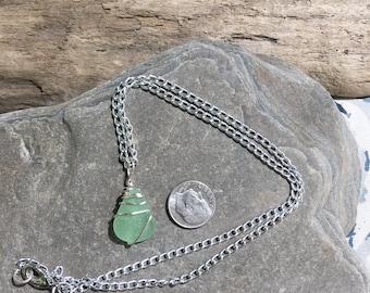 Beach glass necklace, seafoam beach glass pendant, sea glass necklace, green beach glass pendant