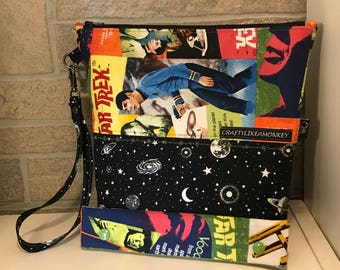Star Trek inspired zipper top project bag with flat bottom and knitting needle cozy - ready to ship